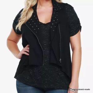 Torrid Black Draped Studded Moto Zip Up Vest 1 1X